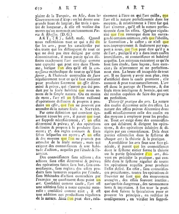 Première des 10 pages de définition de l'Art, selon l'Encyclopédie